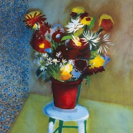 Vase of Flowers Placed on a Stool
