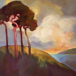 Trees, Hill and Sunset Cloud