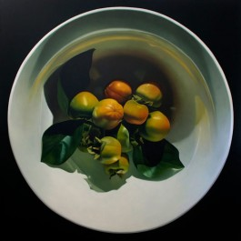 Persimmons in White Bowl