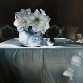 Still life with Lilies in Chinese bowl and silver ball