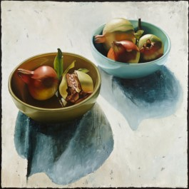 Still life with two bowls and pomegranates