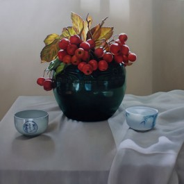 Still Life with Crab Apples in Green Vase