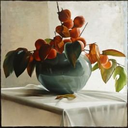 Still Life with Persimmons in Blue Vase I