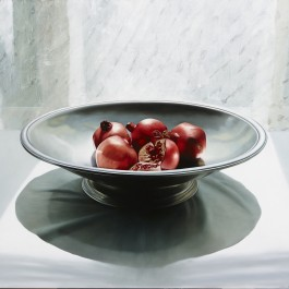 Pomegranates in pewter bowl
