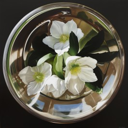 Hellebores in silver bowl II