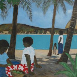 Villagers Relaxing, Fijian Village