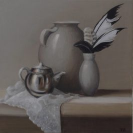 Silver Teapot and Four Feathers
