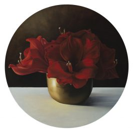 Hippeastrum Lilies in Brass Bowl