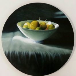 Greengage plums in bowl