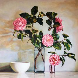 Camellias and White Bowl