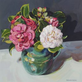 Green Jug and Camellias
