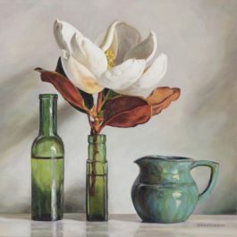 Green still life with Magnolias