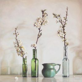 Green Still Life with White Blossom