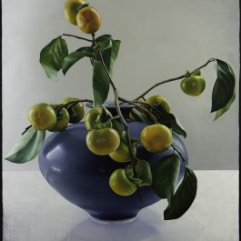 Persimmons in Blue Vase