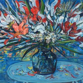 Daisies and Liliums in Blue Vase