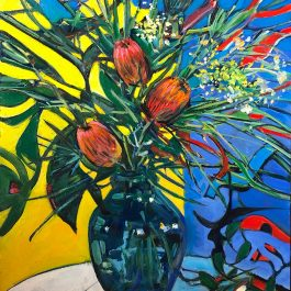 Still Life After Mondrian II (Proteas and yellow flowers)