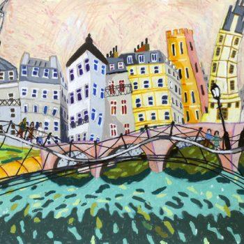 Pont Des Arts, pink sky