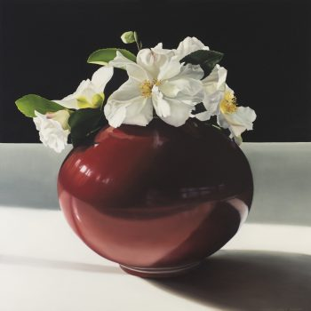 Still life with sesanqua camelia